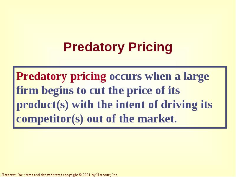 predatory pricing essay Cuegis_essay__2 - 44a cuegis[change'culture ethics keep expanding and the profits will come: this type of thinking and pricing strategy is known as predatory.